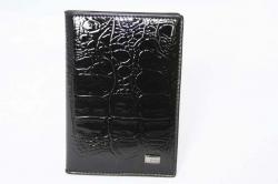 1560149 Обложка для паспорта черная кожаная